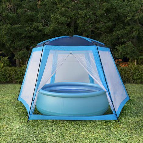 Hommoo Tente de piscine Tissu 660x580x250 cm Bleu