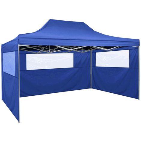 Hommoo Tente pliable avec 3 parois 3 x 4,5 m Bleu