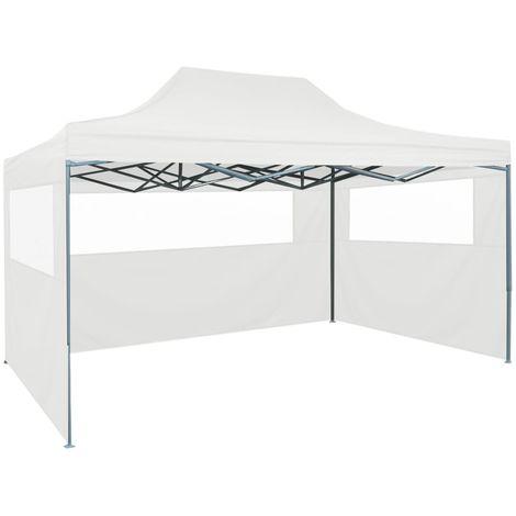 Hommoo Tente pliable de réception avec 3 parois 3 x 4,5 m Blanc