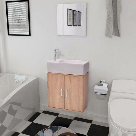 Hommoo Three Piece Bathroom Furniture and Basin Set Beige VD15785