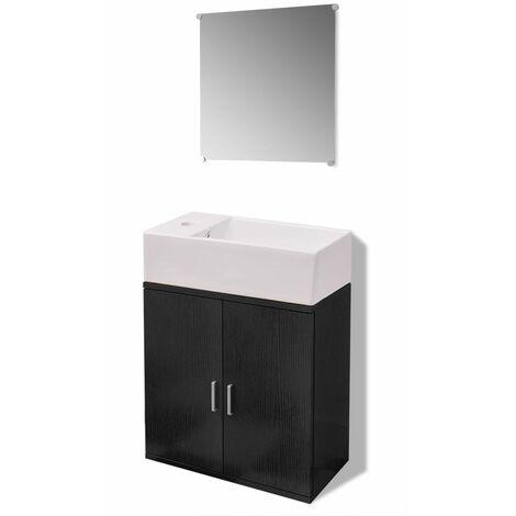 Hommoo Three Piece Bathroom Furniture and Basin Set Black QAH15784