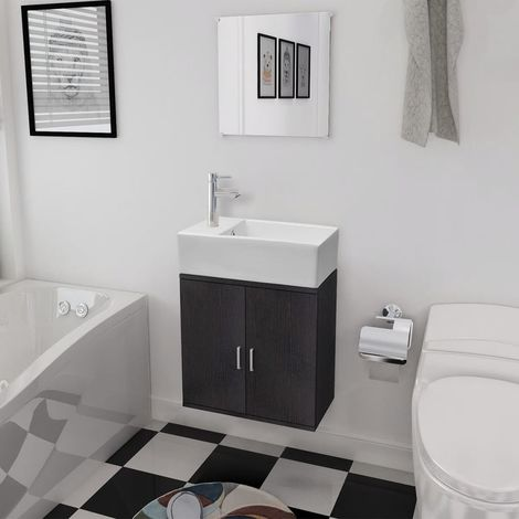 Hommoo Three Piece Bathroom Furniture and Basin Set Black VD15784
