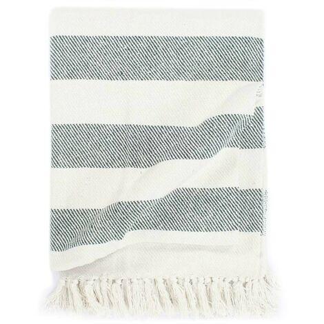Hommoo Throw Cotton Stripe 125x150 cm Dark Green VD02715