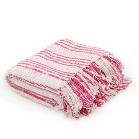 Hommoo Throw Cotton Stripes 125x150 cm Pink and White