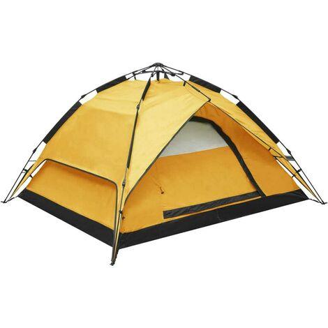 Hommoo Tienda campaña desplegable 2-3 personas amarillo 240x210x140 cm