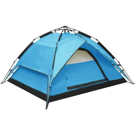 Hommoo Tienda de campaña desplegable 2-3 personas azul 240x210x140 cm