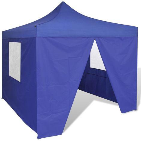 Hommoo Tienda de fiesta plegable 3x3 m con 4 paredes azul