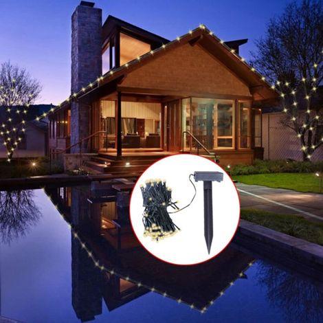 Hommoo Tira de luces LED de Navidad energía solar blanco cálido