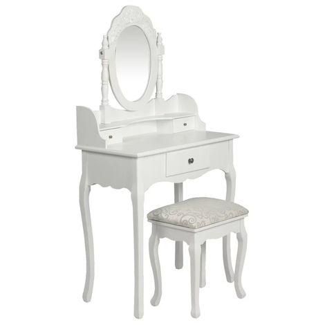 Hommoo Tocador con espejo y taburete blanco