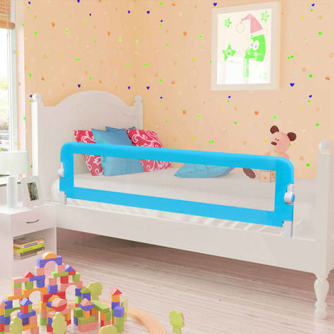 Hommoo Toddler Safety Bed Rail 2 pcs Blue 150x42 cm VD18977