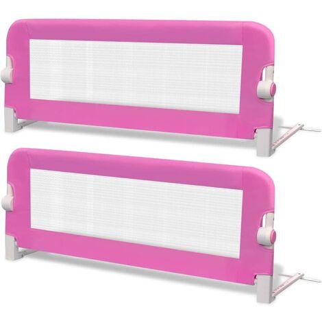 Hommoo Toddler Safety Bed Rail 2 pcs Pink 102x42 cm QAH18974