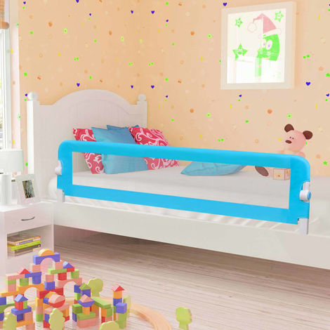 Hommoo Toddler Safety Bed Rail Blue 180x42 cm Polyester