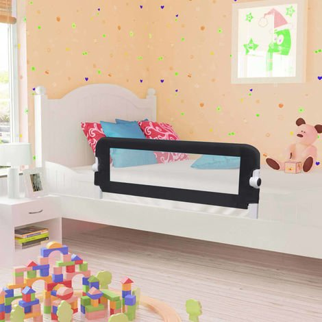 Hommoo Toddler Safety Bed Rail Grey 120x42 cm Polyester