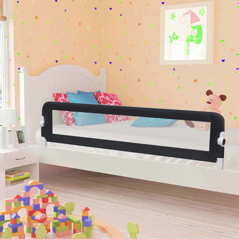 Hommoo Toddler Safety Bed Rail Grey 180x42 cm Polyester