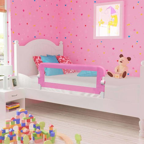 Hommoo Toddler Safety Bed Rail Pink 120x42 cm Polyester VD00085