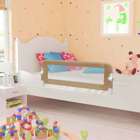Hommoo Toddler Safety Bed Rail Taupe 120x42 cm Polyester VD00089
