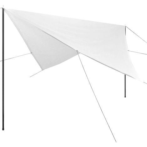 Hommoo Toile d'ombrage avec poteaux HDPE Carré 4 x 4 m Blanc