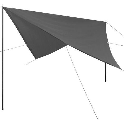 Hommoo Toile d'ombrage avec poteaux HDPE Carré 5 x 5 m Anthracite