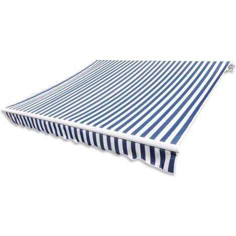 Hommoo Toldo de lona azul y blanco 450x300 cm
