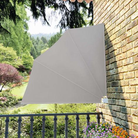 Hommoo Toldo lateral plegable de balcón color crema 140x140 cm