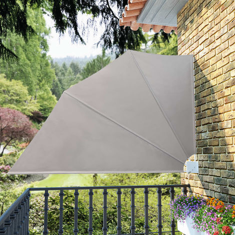 Hommoo Toldo lateral plegable de balcón color crema 160x240 cm