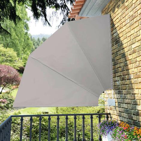 Hommoo Toldo lateral plegable de balcón color crema 210x210 cm