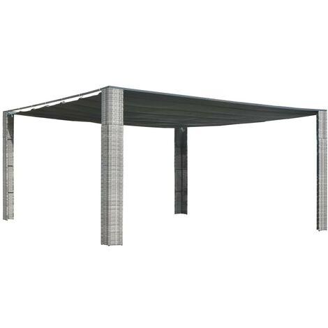 Hommoo Tonnelle avec toit coulissant 400x400x200 cm Gris / anthracite HDV29004