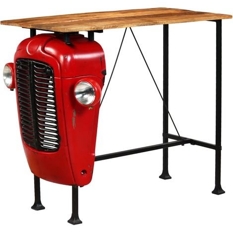 Hommoo Tractor Bar Table Solid Mango Wood Red 60x120x107 cm VD12170