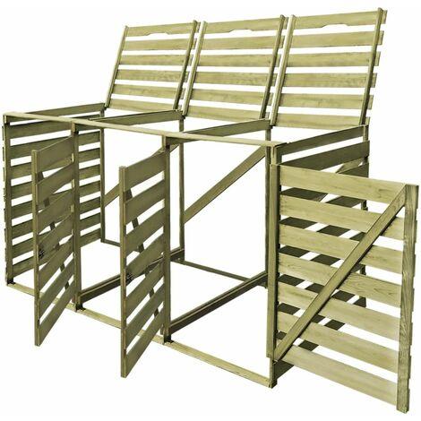 Hommoo Triple Wheelie Bin Shed 240 L Impregnated Wood QAH26896