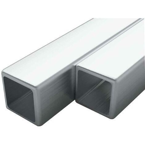 Hommoo Tubo acero inoxidable cuadrado 2 uds caja V2A 2 m 25x25x1,9mm