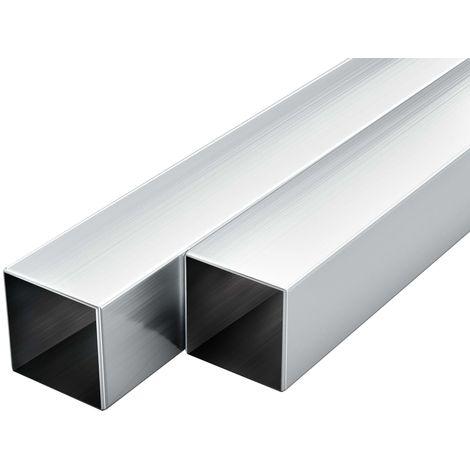 Hommoo Tubos de aluminio cuadrados 6 unidades 1 m 30x30x2mm