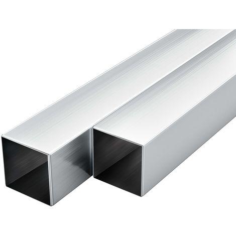 Hommoo Tubos de aluminio cuadrados 6 unidades 2 m 30x30x2mm