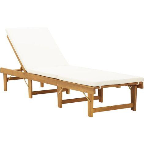 Hommoo Tumbona plegable con cojín madera maciza de acacia