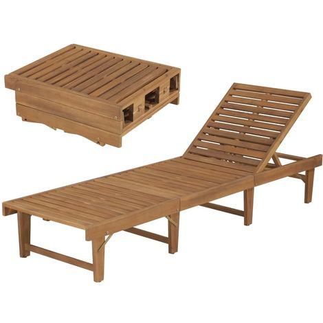 Hommoo Tumbona plegable de madera maciza de acacia