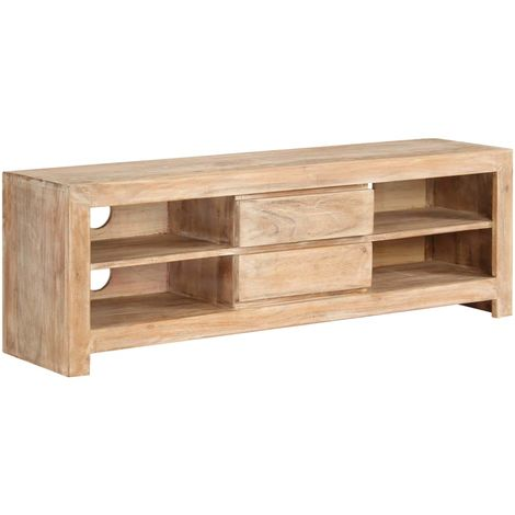 Hommoo TV Cabinet Solid Acacia Wood 120x30x40 cm Light Brown
