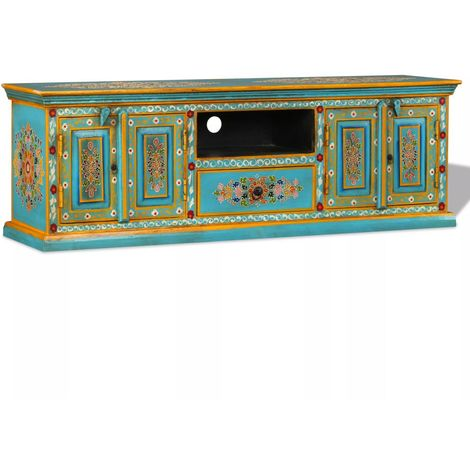 Hommoo TV Cabinet Solid Mango Wood Blue Hand Painted
