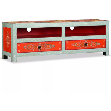 Hommoo TV Cabinet Solid Mango Wood Hand Painted