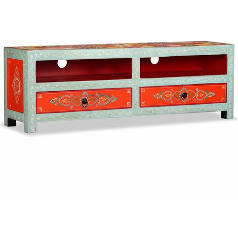 Hommoo TV Cabinet Solid Mango Wood Hand Painted QAH10688