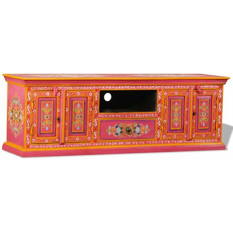 Hommoo TV Cabinet Solid Mango Wood Pink Hand Painted