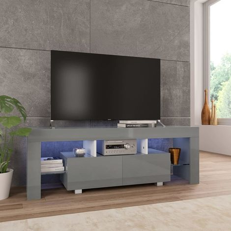Hommoo TV Cabinet with LED Lights High Gloss Grey 130x35x45 cm