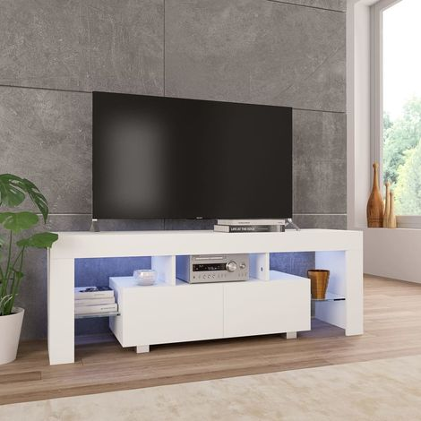 Hommoo TV Cabinet with LED Lights High Gloss White 130x35x45 cm
