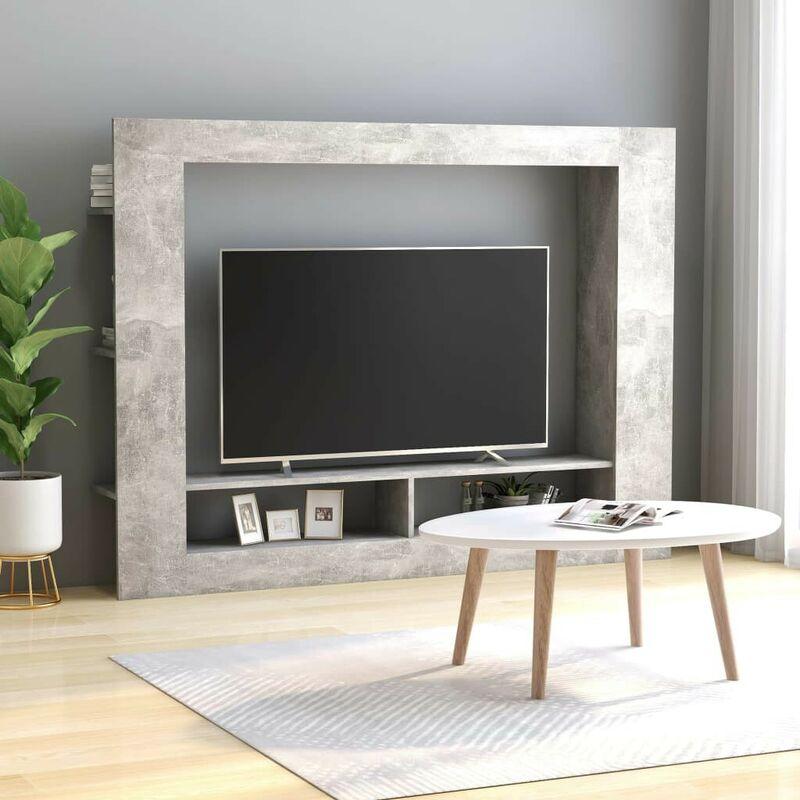 TV-Schrank Betongrau 152x22x113 cm Spanplatte VD47152 - Hommoo