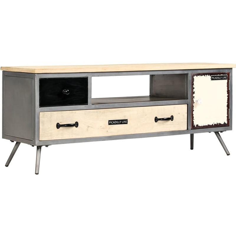 Hommoo TV-Schrank Mangoholz Massiv und Stahl 120 x 30 x 45 cm VD12216