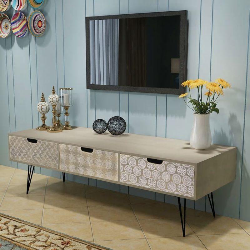 Hommoo TV-Schrank mit 3 Schubladen 120x40x36 cm grau VD09790