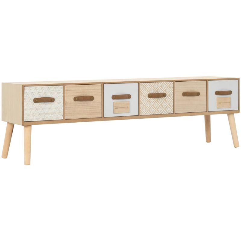 TV-Schrank mit 6 Schubladen 130x30x40 cm Massivholz Kiefer VD13275 - Hommoo