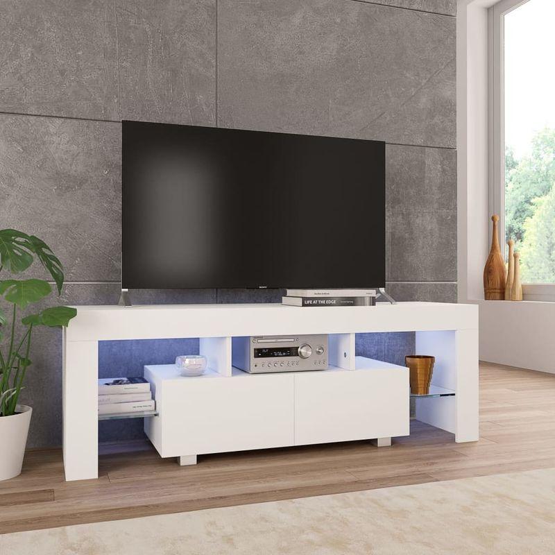 Hommoo TV-Schrank mit LED-Leuchten Hochglanz-Weiß 130 x 35 x 45 cm VD24425