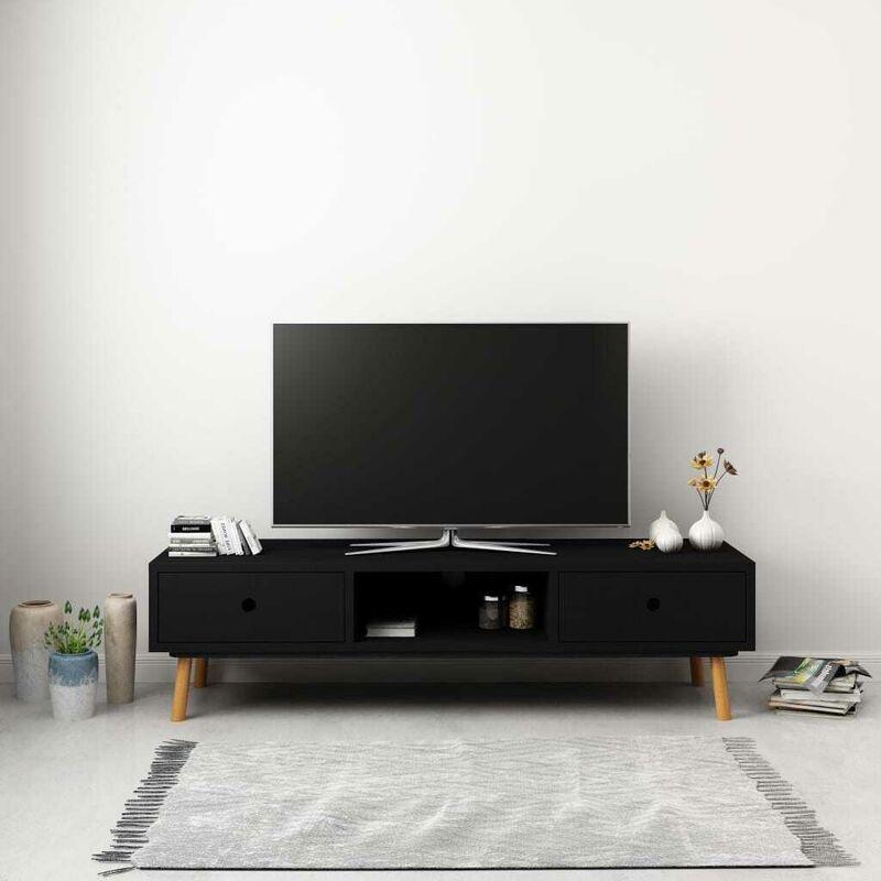 Hommoo TV-Schrank Schwarz 120 x 35 x 35 cm Massivholz Kiefer VD25451
