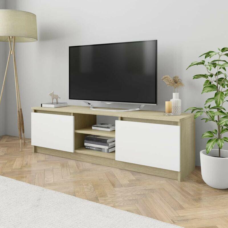 Hommoo TV-Schrank Weiß und Sonoma-Eiche 120x30x35,5 cm Spanplatte VD31606
