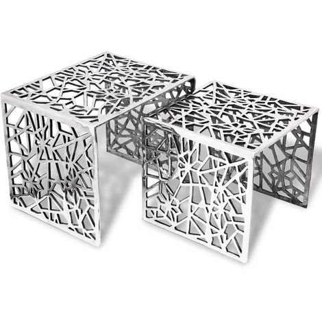 Hommoo Two Piece Side Tables Square Aluminium Silver VD09860