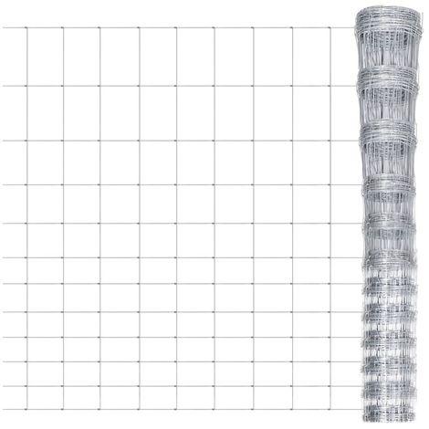 Hommoo Valla de jardín de acero galvanizado 50 m 150 cm